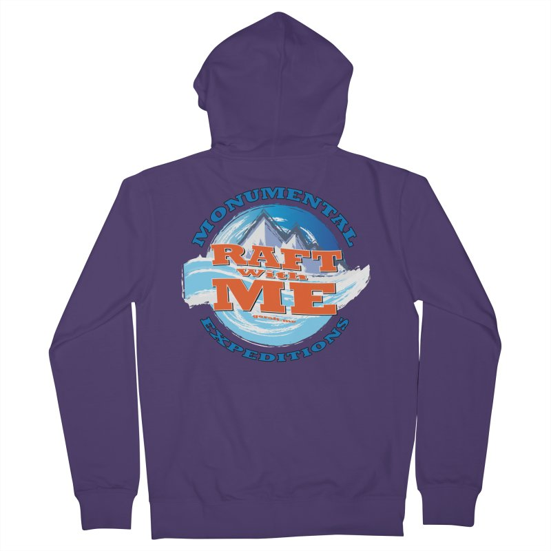 Raft With ME - blue text Women's French Terry Zip-Up Hoody by Monumental Expeditions