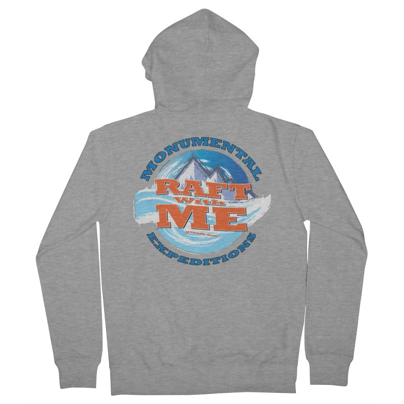 Raft With ME - blue text Men's French Terry Zip-Up Hoody by Monumental Expeditions