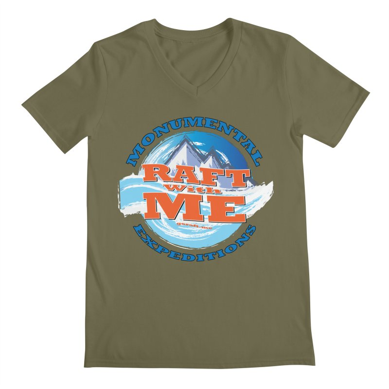 Raft With ME - blue text Men's Regular V-Neck by Monumental Expeditions