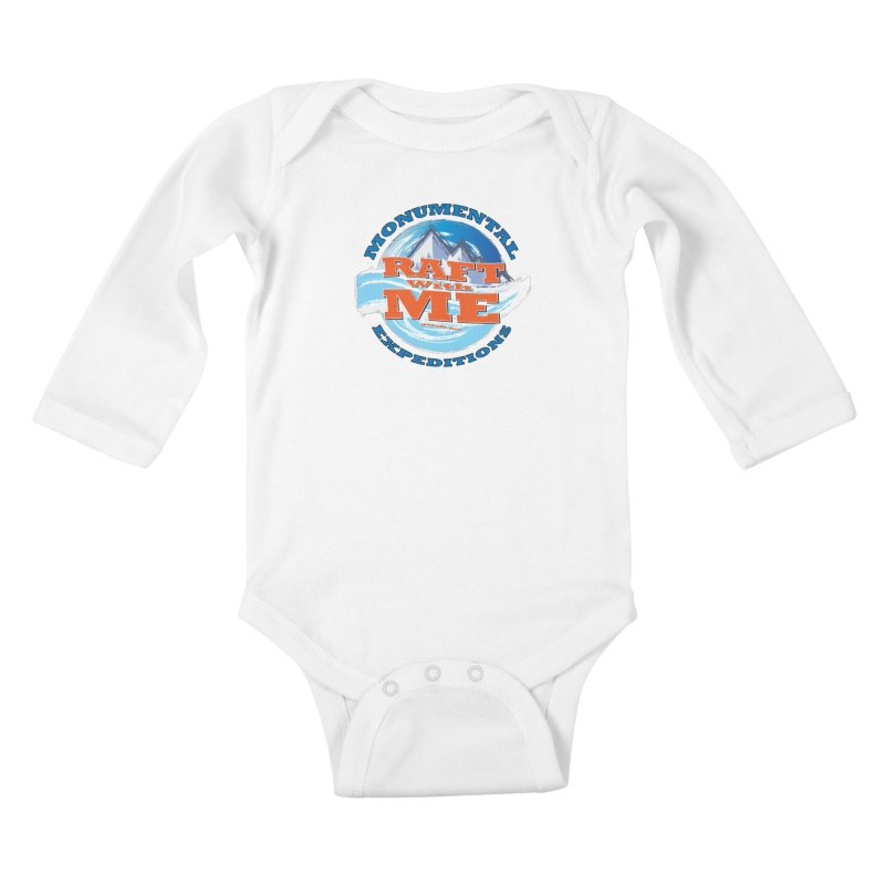 Raft With ME - blue text Kids Baby Longsleeve Bodysuit by Monumental Expeditions