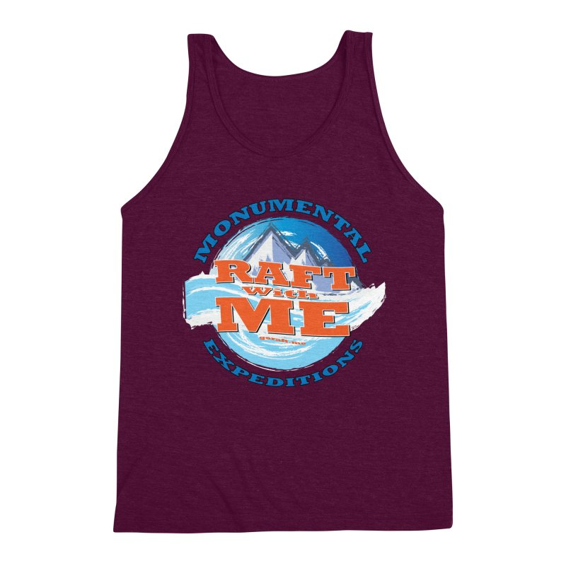 Raft With ME - blue text Men's Triblend Tank by Monumental Expeditions