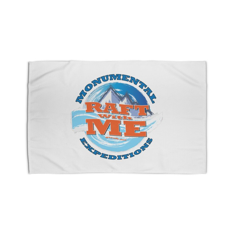 Raft With ME - blue text Home Rug by Monumental Expeditions