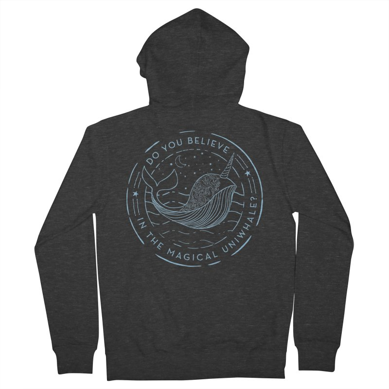Do You Believe in the Magical Uni-Whale? Men's French Terry Zip-Up Hoody by Moon Bear Design Studio's Artist Shop