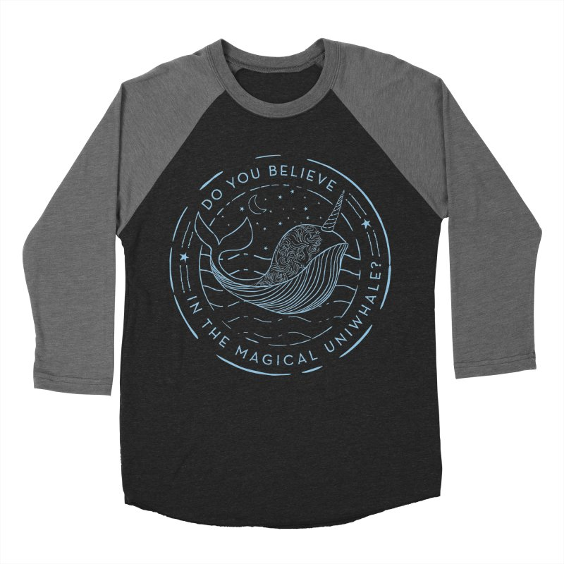 Do You Believe in the Magical Uni-Whale? Men's Baseball Triblend Longsleeve T-Shirt by Moon Bear Design Studio's Artist Shop