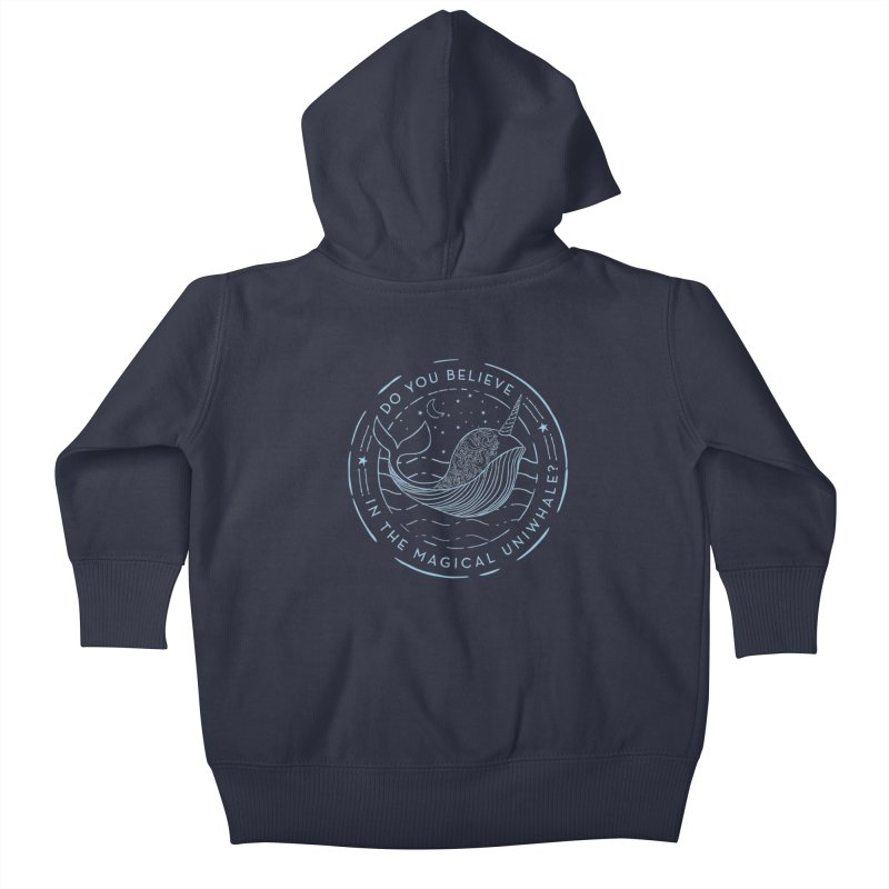 Do You Believe in the Magical Uni-Whale? Kids Baby Zip-Up Hoody by Moon Bear Design Studio's Artist Shop