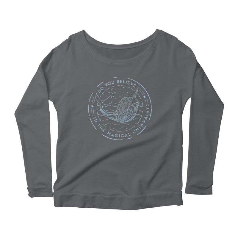 Do You Believe in the Magical Uni-Whale? Women's Scoop Neck Longsleeve T-Shirt by Moon Bear Design Studio's Artist Shop