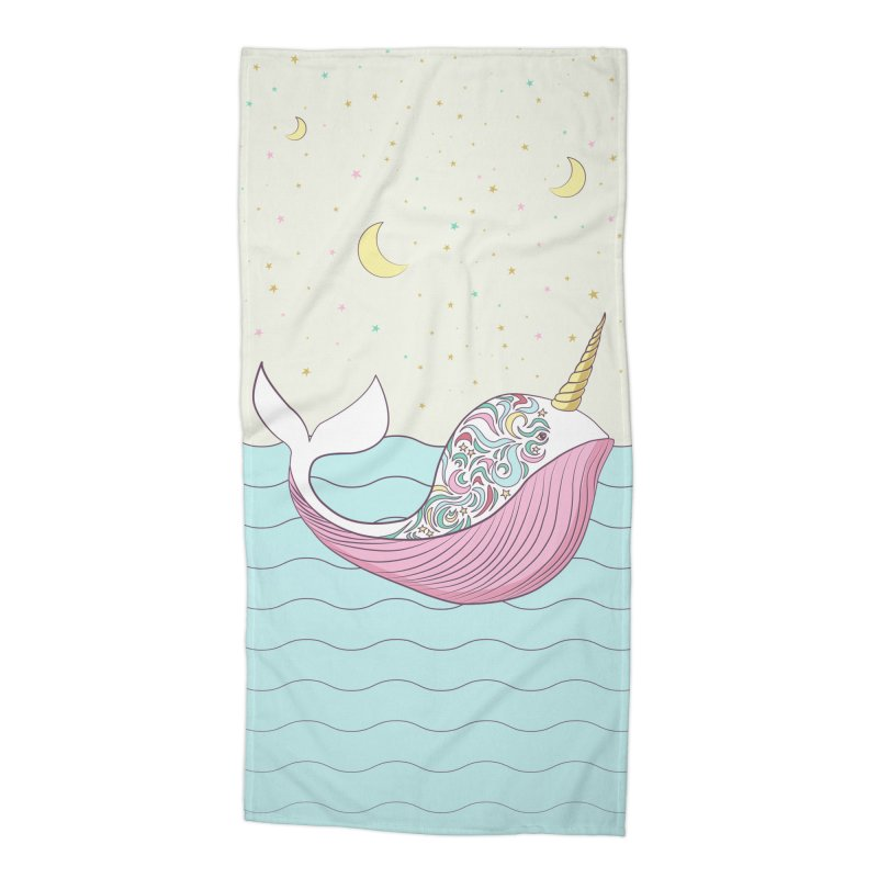The Magical Uniwhale Accessories Beach Towel by Moon Bear Design Studio's Artist Shop