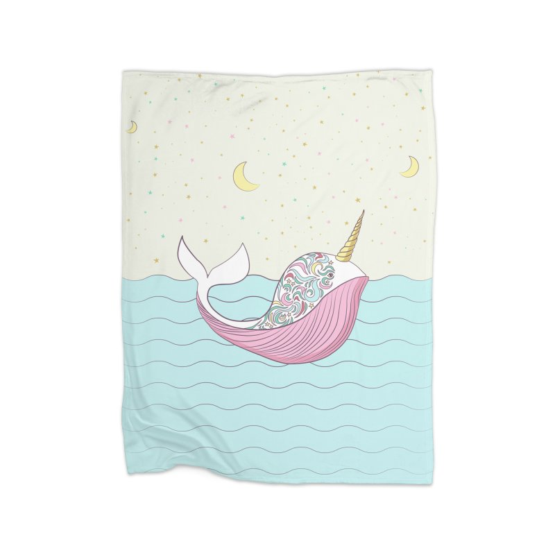The Magical Uniwhale Home Fleece Blanket Blanket by Moon Bear Design Studio's Artist Shop