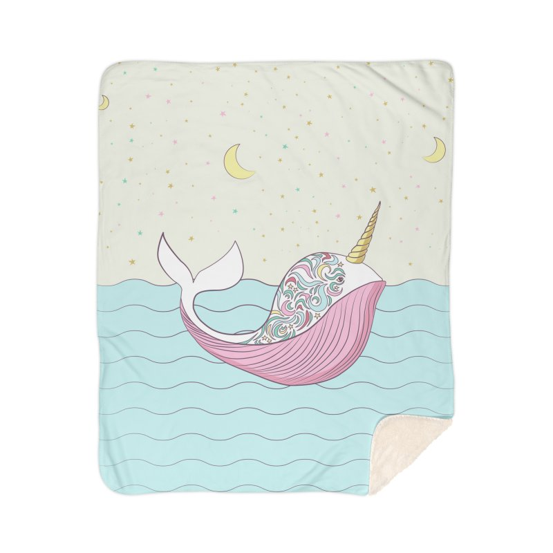 The Magical Uniwhale Home Sherpa Blanket Blanket by Moon Bear Design Studio's Artist Shop