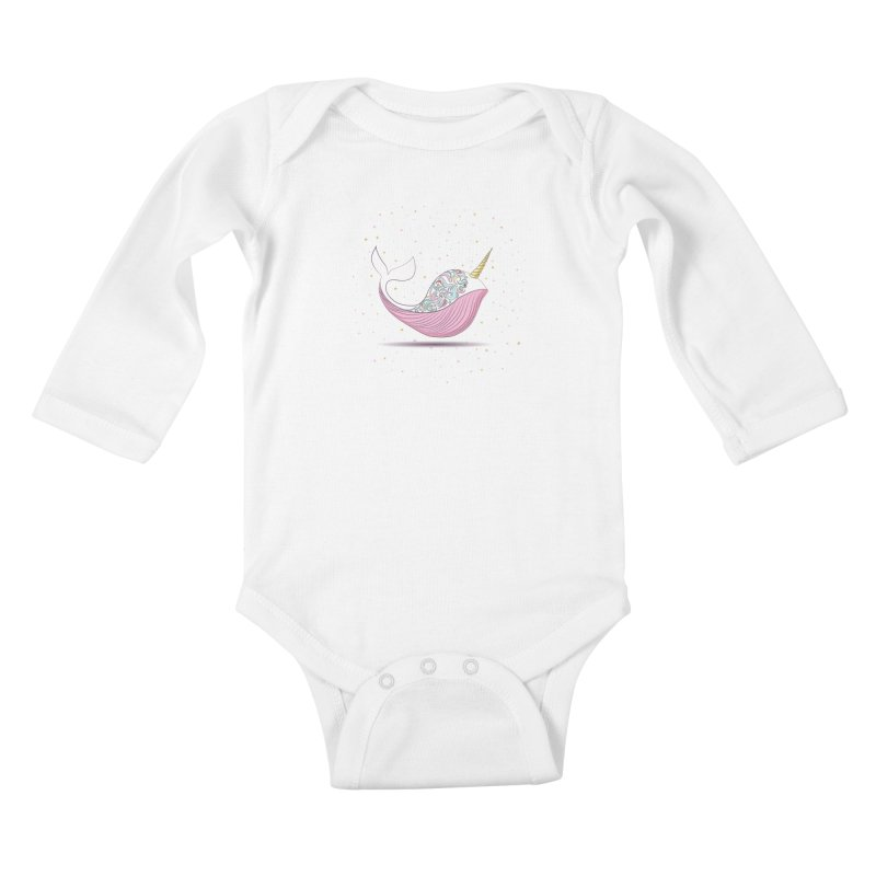 The Magical Uniwhale Kids Baby Longsleeve Bodysuit by Moon Bear Design Studio's Artist Shop
