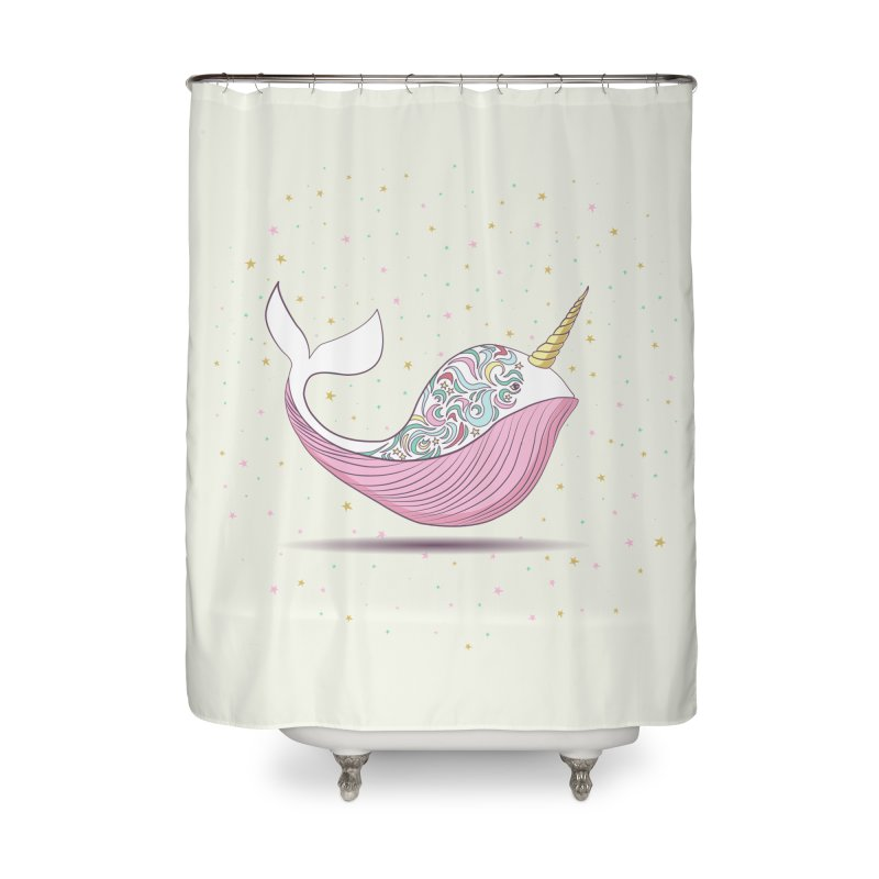 The Magical Uniwhale Home Shower Curtain by Moon Bear Design Studio's Artist Shop