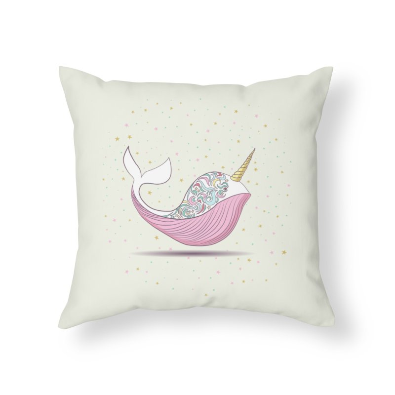 The Magical Uniwhale Home Throw Pillow by Moon Bear Design Studio's Artist Shop