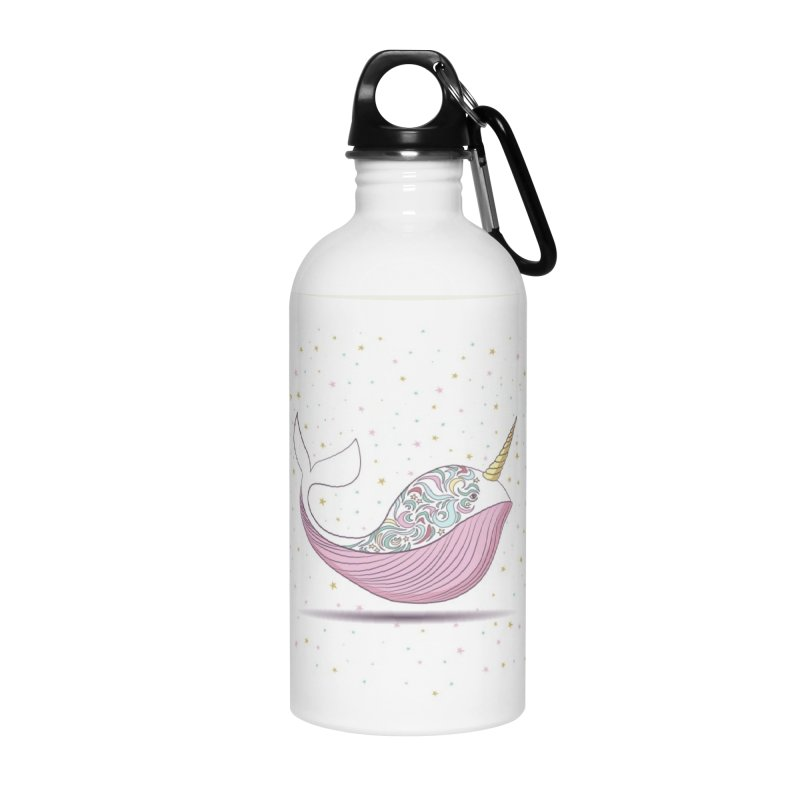 The Magical Uniwhale Accessories Water Bottle by Moon Bear Design Studio's Artist Shop