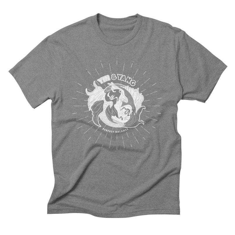 Coy Fish Yin and Yang - Perfect Balance Men's Triblend T-Shirt by Moon Bear Design Studio's Artist Shop