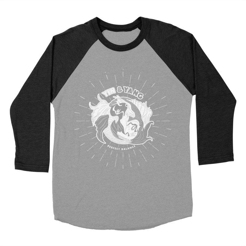 Coy Fish Yin and Yang - Perfect Balance Women's Baseball Triblend Longsleeve T-Shirt by Moon Bear Design Studio's Artist Shop