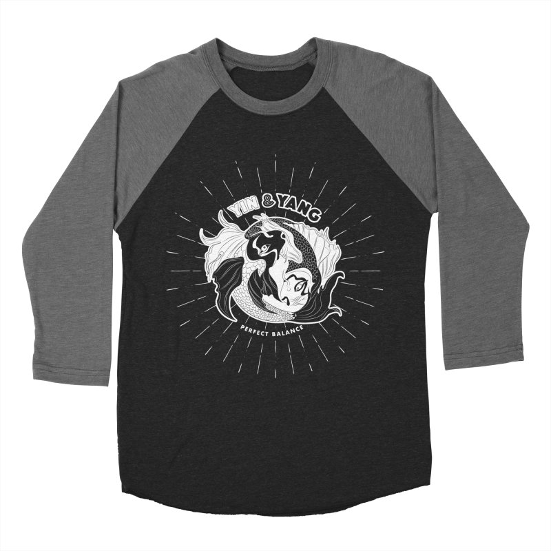 Coy Fish Yin and Yang - Perfect Balance Men's Baseball Triblend Longsleeve T-Shirt by Moon Bear Design Studio's Artist Shop