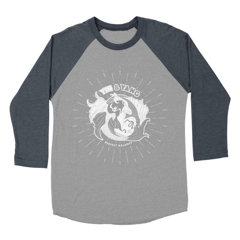 Coy Fish Yin and Yang - Perfect Balance Men's Baseball Triblend Longsleeve T-Shirt by Moon Bear Design Studio's Artist Shop