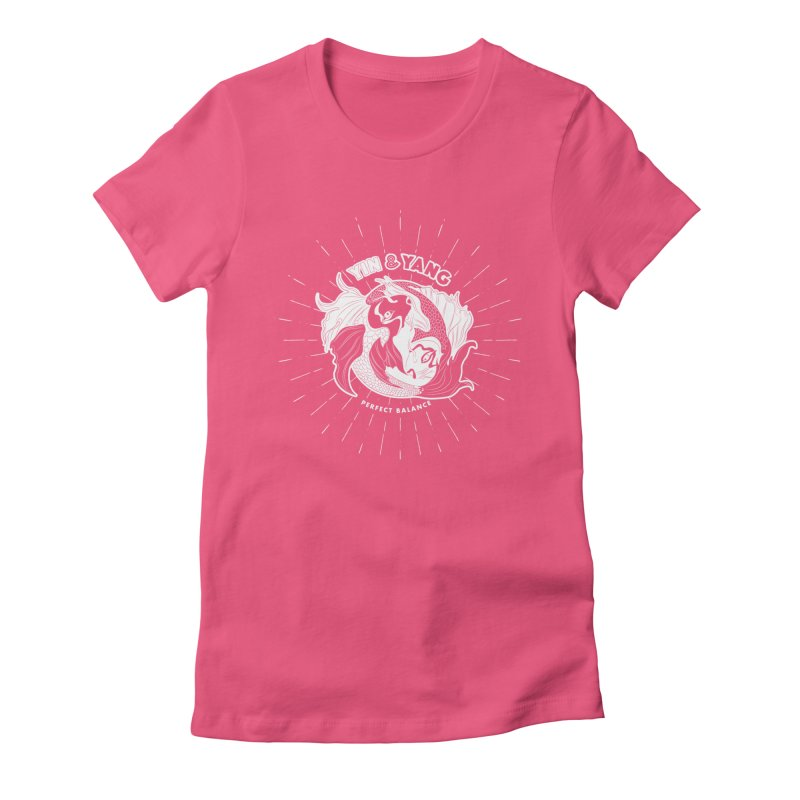 Coy Fish Yin and Yang - Perfect Balance Women's Fitted T-Shirt by Moon Bear Design Studio's Artist Shop
