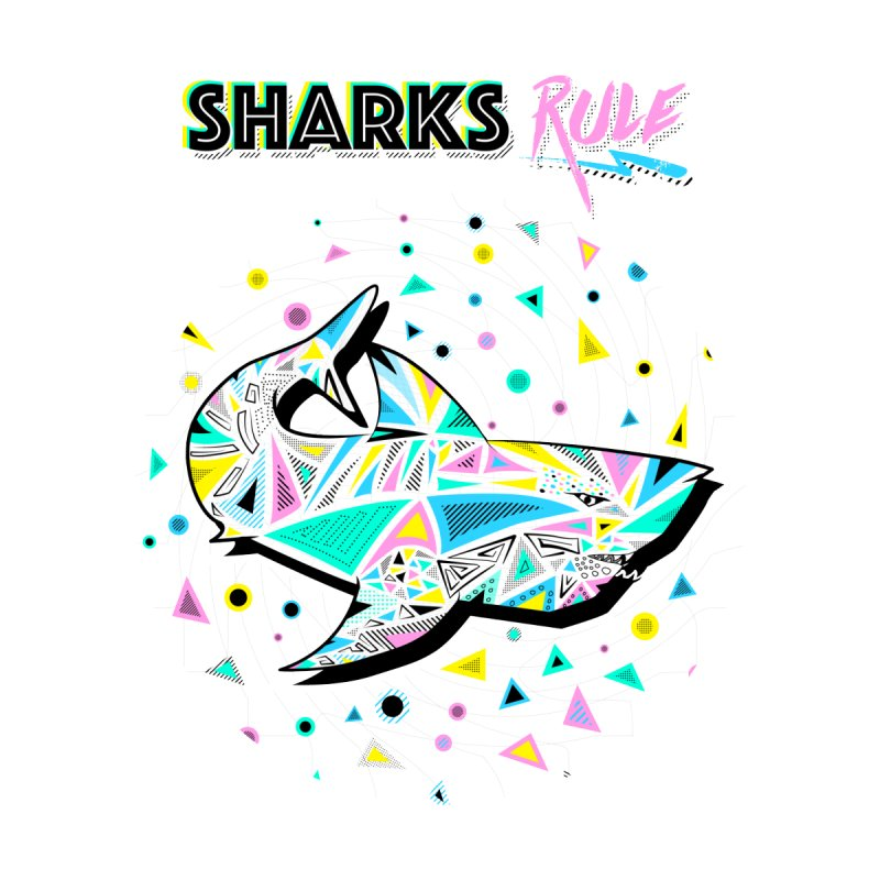 Sharks Rule! - Retro 80s Inspired Men's T-Shirt by Moon Bear Design Studio's Artist Shop
