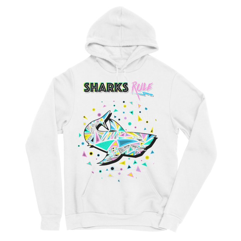 Sharks Rule! - Retro 80s Inspired Men's Sponge Fleece Pullover Hoody by Moon Bear Design Studio's Artist Shop