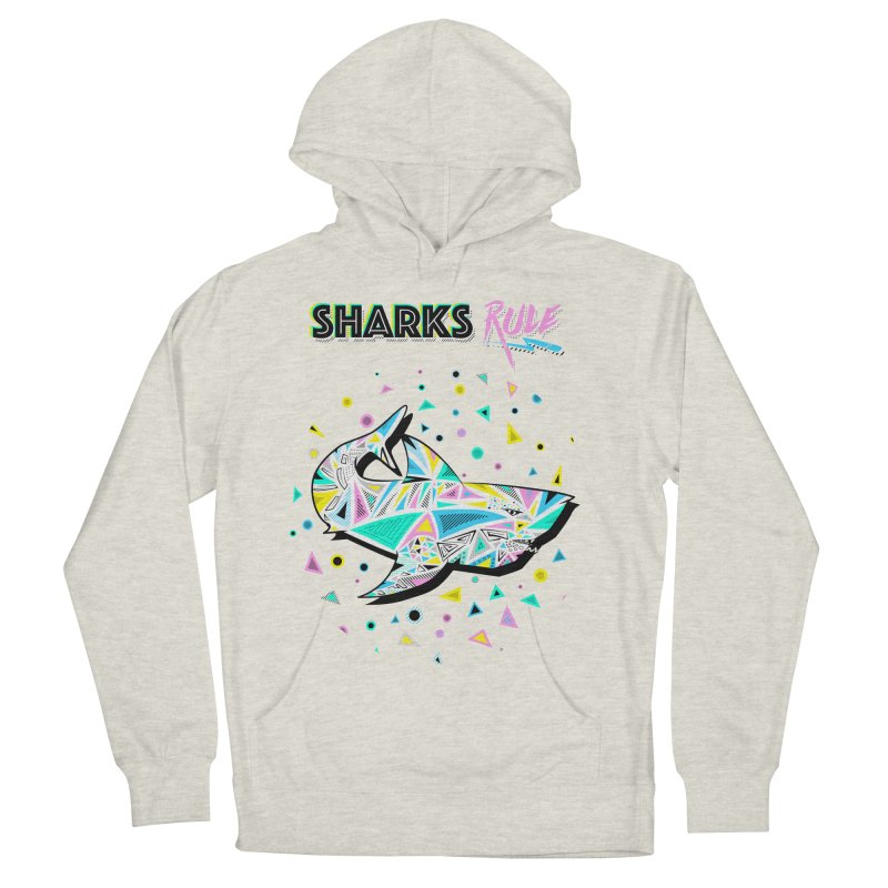 Sharks Rule! - Retro 80s Inspired Women's French Terry Pullover Hoody by Moon Bear Design Studio's Artist Shop