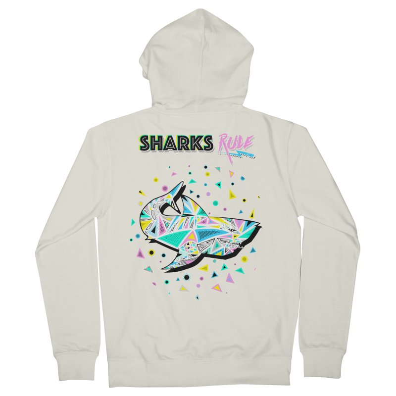 Sharks Rule! - Retro 80s Inspired Women's French Terry Zip-Up Hoody by Moon Bear Design Studio's Artist Shop