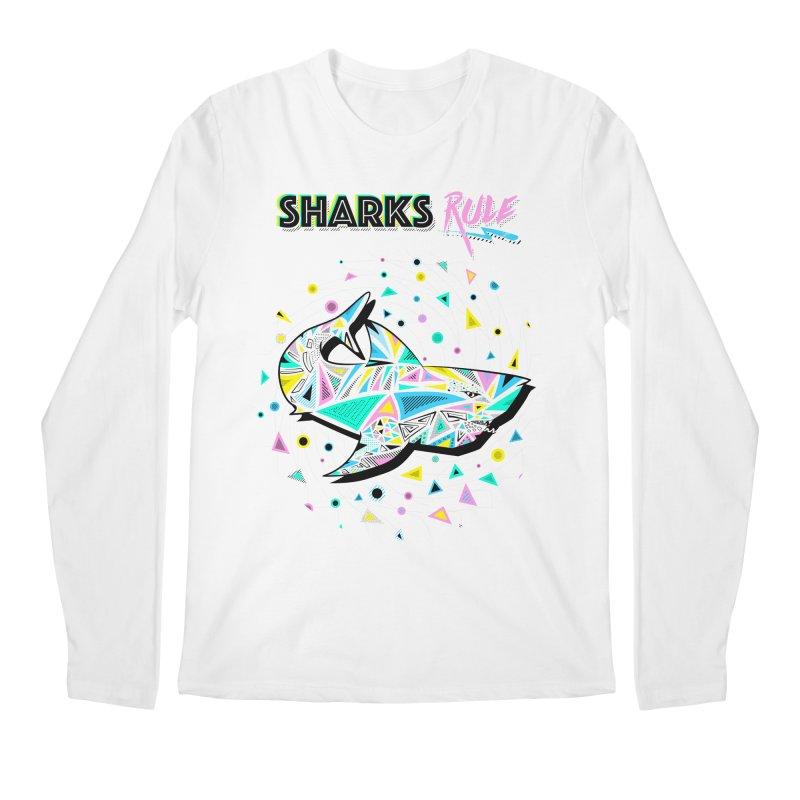 Sharks Rule! - Retro 80s Inspired Men's Regular Longsleeve T-Shirt by Moon Bear Design Studio's Artist Shop