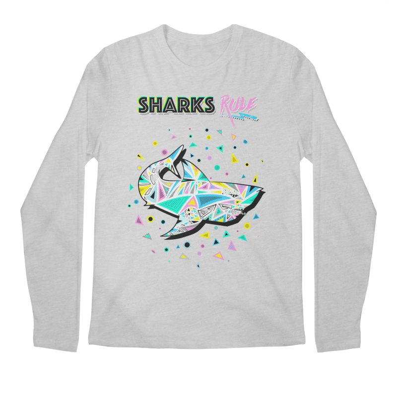 Sharks Rule! - Retro 80s Inspired Men's Regular Longsleeve T-Shirt by Moon Bear Design Studio's Artist Shop