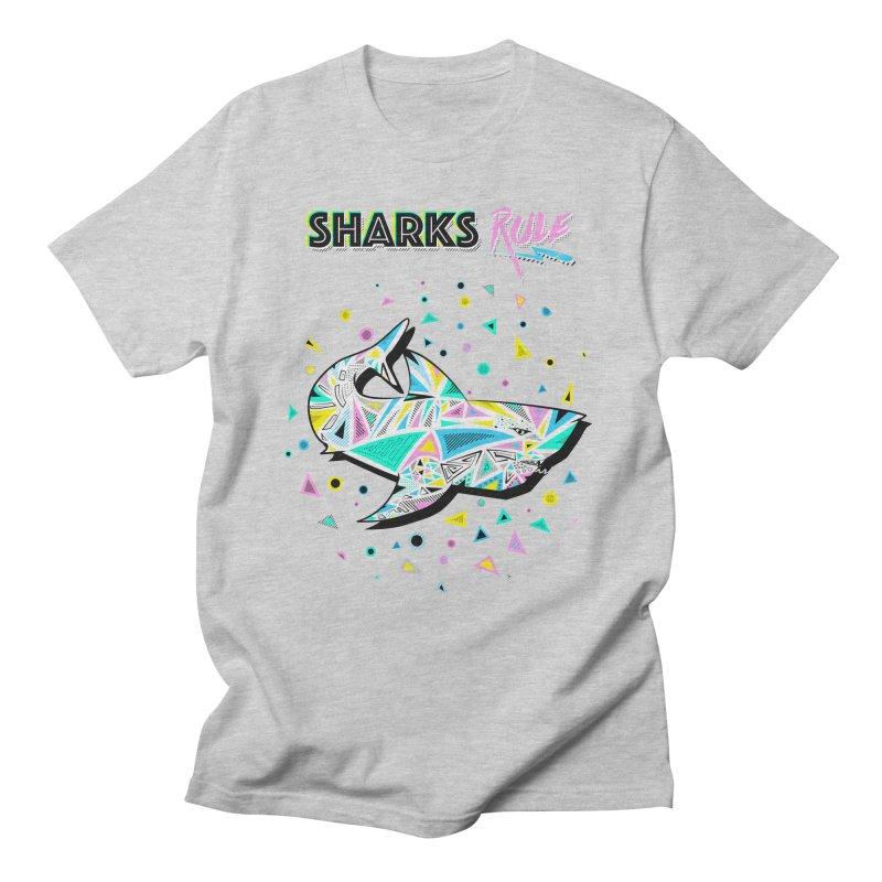 Sharks Rule! - Retro 80s Inspired Men's Regular T-Shirt by Moon Bear Design Studio's Artist Shop