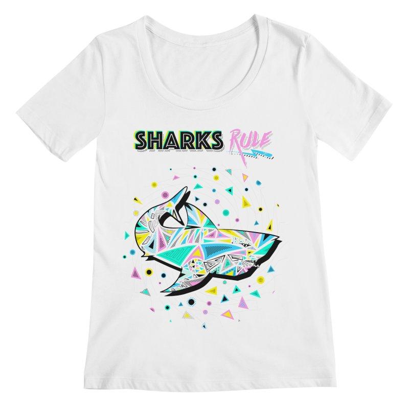 Sharks Rule! - Retro 80s Inspired Women's Regular Scoop Neck by Moon Bear Design Studio's Artist Shop