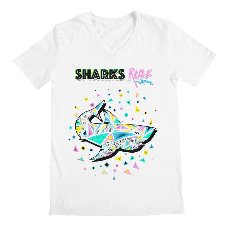 Sharks Rule! - Retro 80s Inspired Men's Regular V-Neck by Moon Bear Design Studio's Artist Shop