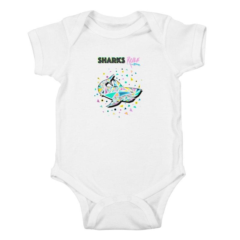 Sharks Rule! - Retro 80s Inspired Kids Baby Bodysuit by Moon Bear Design Studio's Artist Shop
