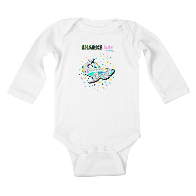 Sharks Rule! - Retro 80s Inspired Kids Baby Longsleeve Bodysuit by Moon Bear Design Studio's Artist Shop