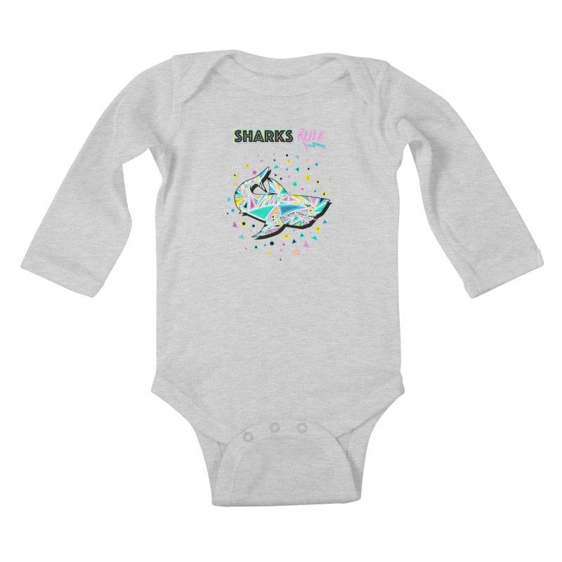 Sharks Rule! - Retro 80s Inspired Kids Baby Longsleeve Bodysuit by Moon Bear Design Studio's Artist Shop