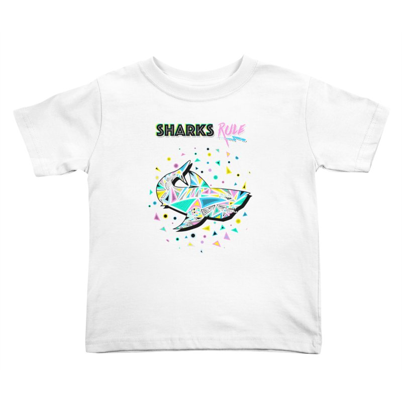 Sharks Rule! - Retro 80s Inspired Kids Toddler T-Shirt by Moon Bear Design Studio's Artist Shop