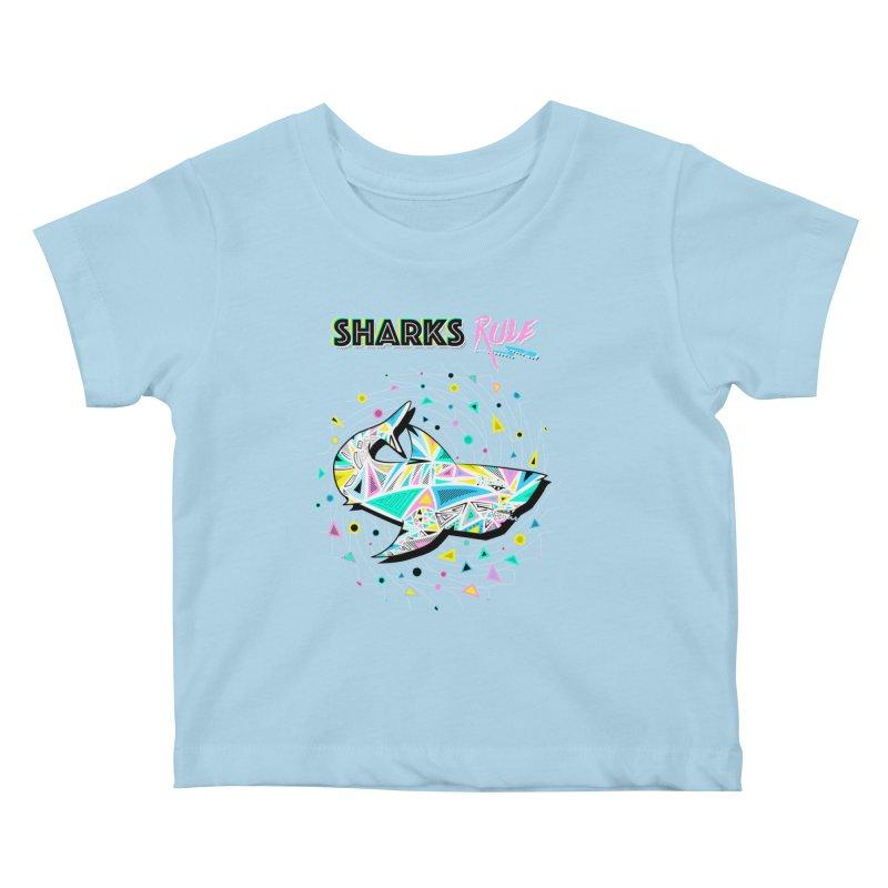 Sharks Rule! - Retro 80s Inspired Kids Baby T-Shirt by Moon Bear Design Studio's Artist Shop
