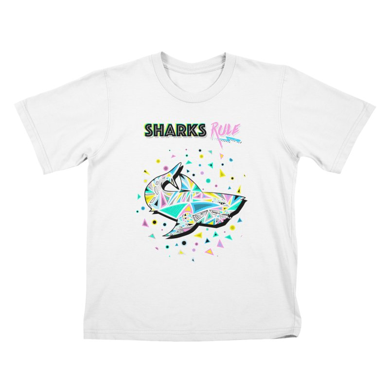 Sharks Rule! - Retro 80s Inspired Kids T-Shirt by Moon Bear Design Studio's Artist Shop