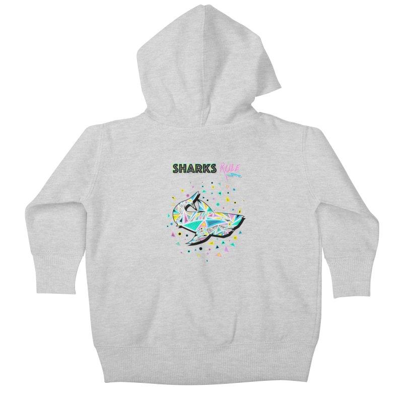 Sharks Rule! - Retro 80s Inspired Kids Baby Zip-Up Hoody by Moon Bear Design Studio's Artist Shop