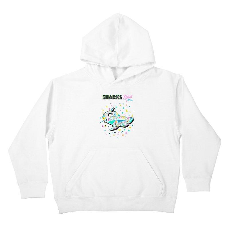 Sharks Rule! - Retro 80s Inspired Kids Pullover Hoody by Moon Bear Design Studio's Artist Shop
