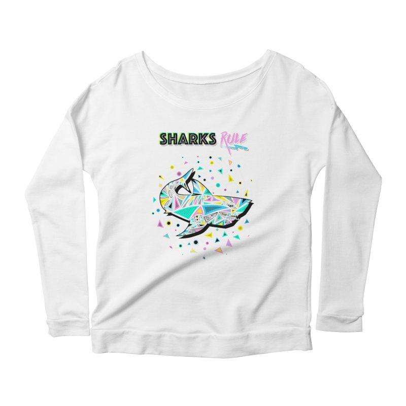 Sharks Rule! - Retro 80s Inspired Women's Scoop Neck Longsleeve T-Shirt by Moon Bear Design Studio's Artist Shop
