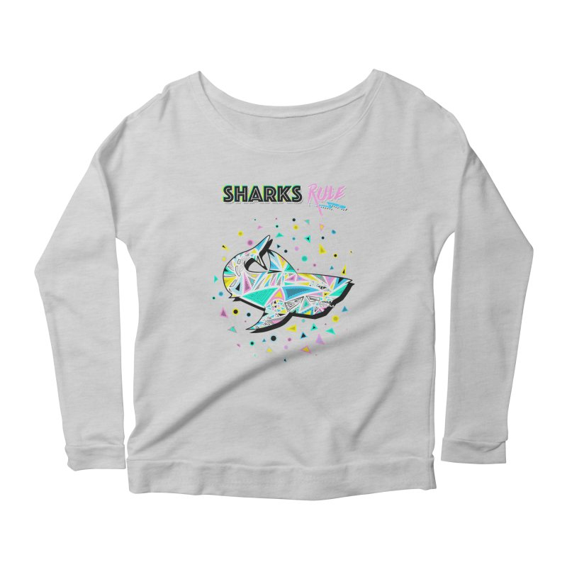 Sharks Rule! - Retro 80s Inspired Women's Scoop Neck Longsleeve T-Shirt by Moon Bear Design Studio's Artist Shop