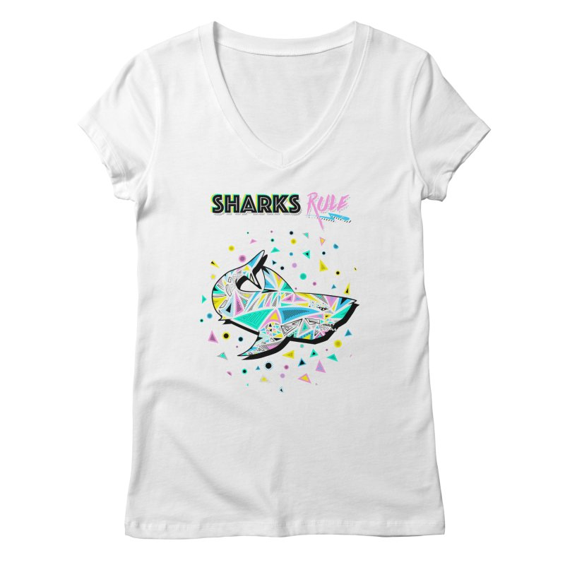 Sharks Rule! - Retro 80s Inspired Women's Regular V-Neck by Moon Bear Design Studio's Artist Shop