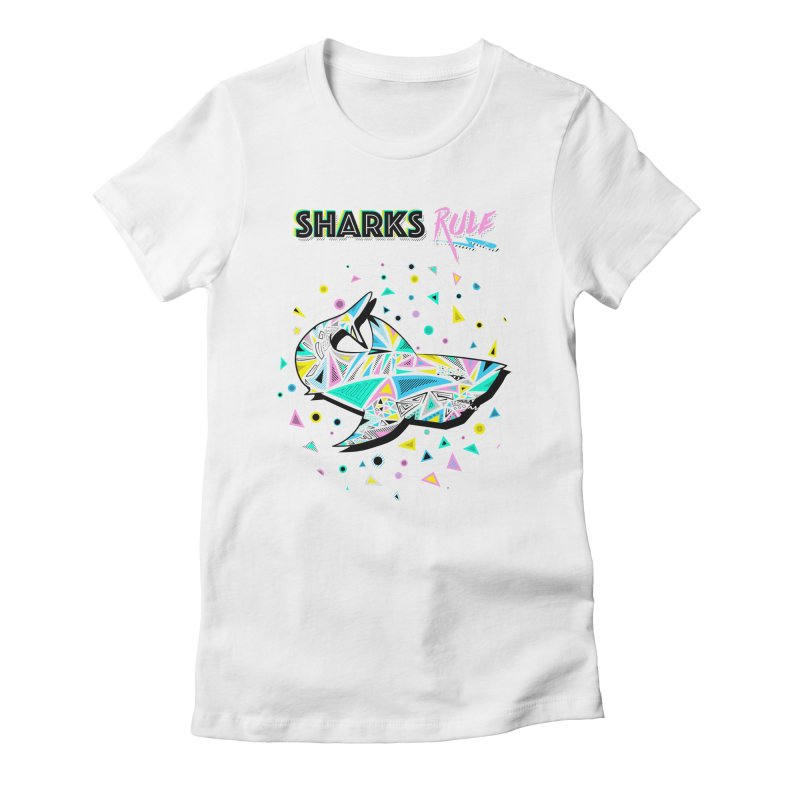 Sharks Rule! - Retro 80s Inspired Women's Fitted T-Shirt by Moon Bear Design Studio's Artist Shop