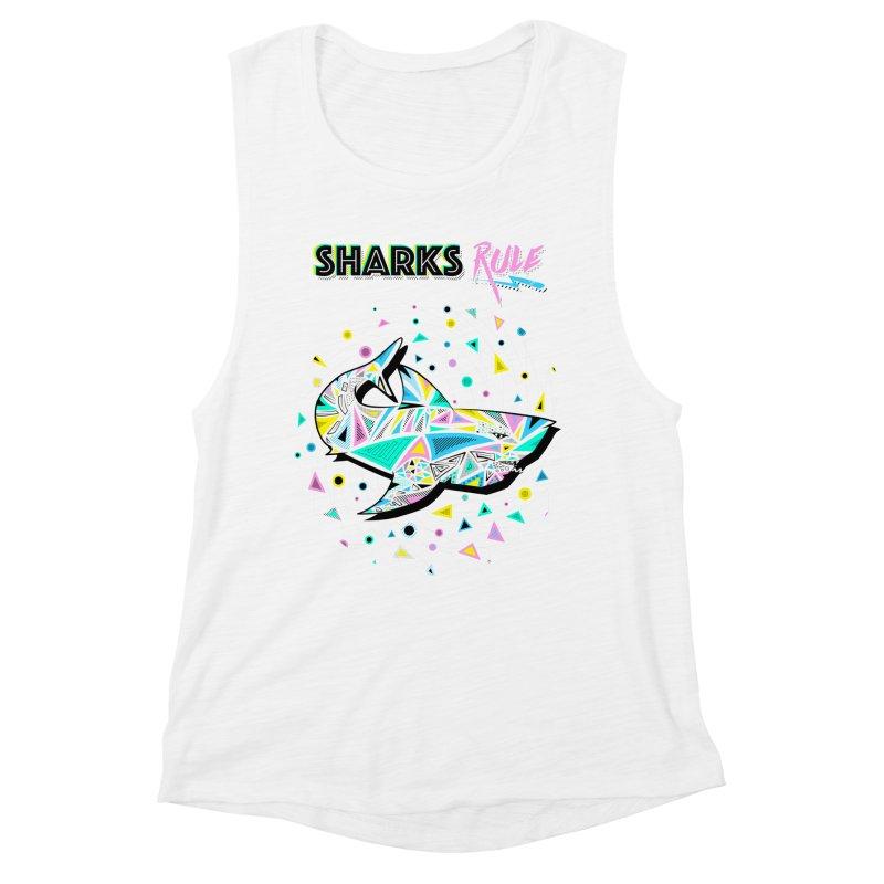 Sharks Rule! - Retro 80s Inspired Women's Muscle Tank by Moon Bear Design Studio's Artist Shop