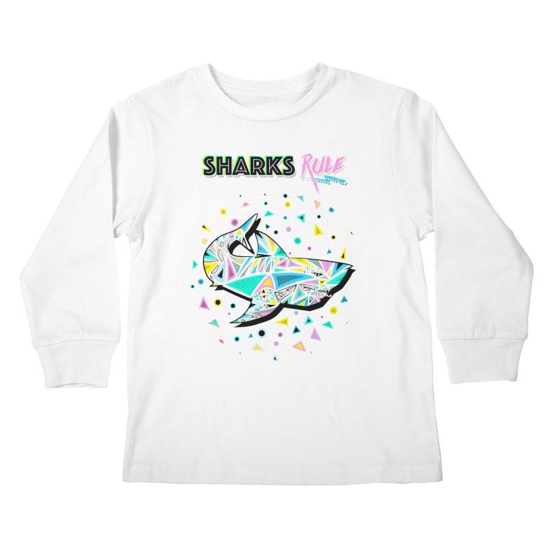 Sharks Rule! - Retro 80s Inspired Kids Longsleeve T-Shirt by Moon Bear Design Studio's Artist Shop