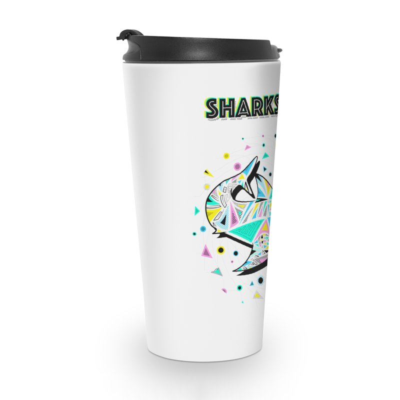 Sharks Rule! - Retro 80s Inspired Accessories Travel Mug by Moon Bear Design Studio's Artist Shop