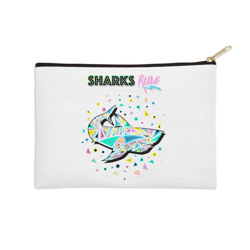 Sharks Rule! - Retro 80s Inspired Accessories Zip Pouch by Moon Bear Design Studio's Artist Shop