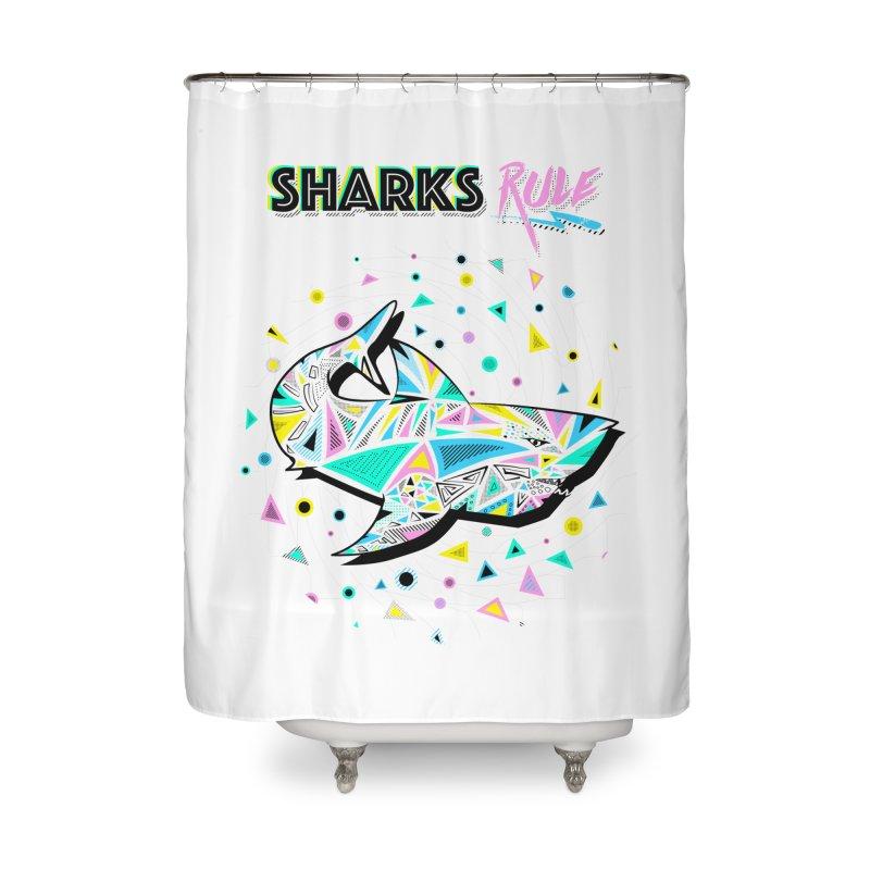 Sharks Rule! - Retro 80s Inspired Home Shower Curtain by Moon Bear Design Studio's Artist Shop