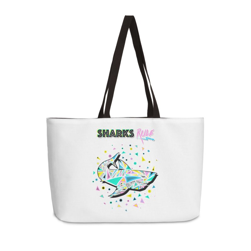 Sharks Rule! - Retro 80s Inspired Accessories Weekender Bag Bag by Moon Bear Design Studio's Artist Shop