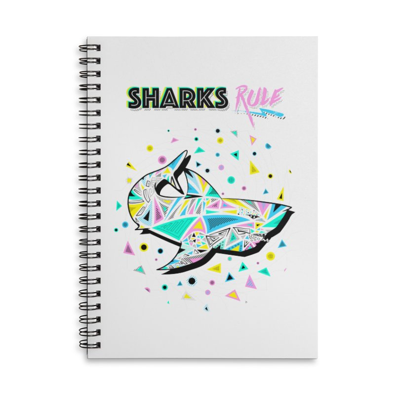 Sharks Rule! - Retro 80s Inspired Accessories Lined Spiral Notebook by Moon Bear Design Studio's Artist Shop